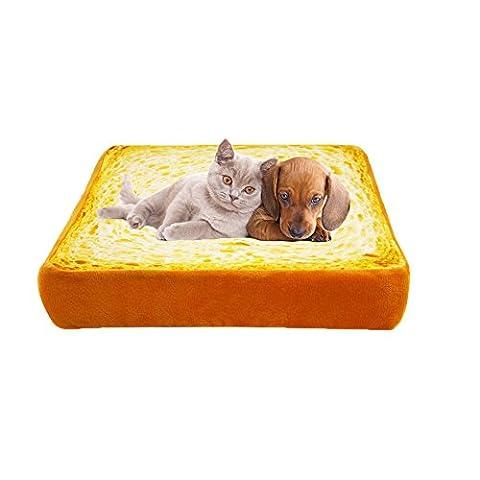 Omem Peluche simulée Toast pour animal domestique Tapis Coussin doux et chaud Matelas lit pour chien et chat -3Tailles disponibles