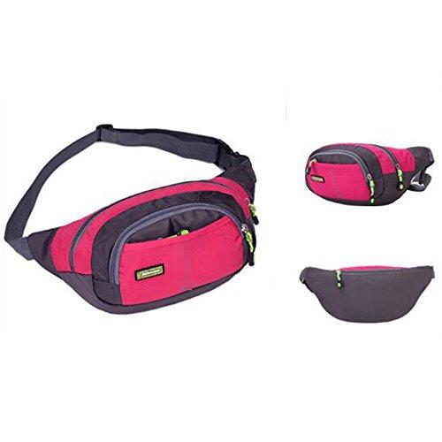 Unisex Großen Kapazitäts-bewegliches Wasser Beweis Sport Gürteltasche Triangle-Pack Multicolor Pink