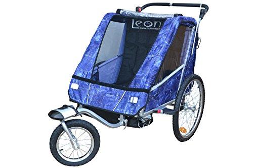 Papilioshop Leon Radanhänger für 1oder 2Kinder, Vorderrad drehbar, Kinderanhänger für das Fahrrad, klappbarer Anhänger mit Türöffnung, New Jeans - 2