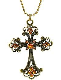Retro en tonos bronce Cruz con piedras de cristal de color naranja - Collar Colgante en forma de cruz de Rhinestone