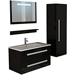 "Lavabo de salle de bain ""St. Moritz"" noir miroir illumine par diodes électroluminescentes ensemble meuble-lavabo évier vasque lave-mains cascade armoire de salle de bain"