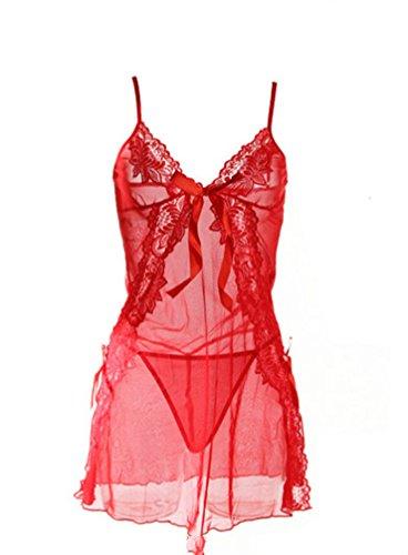 Beylasita Dessous Set Spitze Babydoll Negligee Reizwäsche V-Ausschnitt Babydoll Lingerie Kleid Transparent Rückenfrei Nachtwäsche mit Panty (Rot