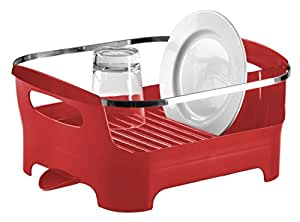 Umbra Basin Dish Drying Rack, Red