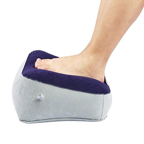 Poggiapiedi gonfiabile per riposo del piede, pieghevole poggiapiedi cuscino da viaggio per ufficio casa relax cuscino ( grigio+blu )
