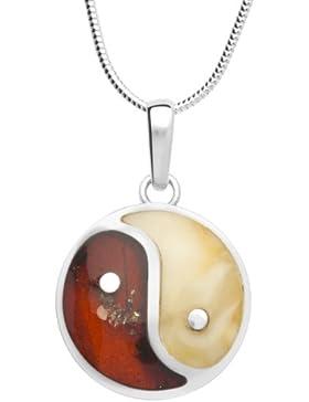 InCollections Damen-Halskette Yin und Yang 925 Sterling Silber 2 Bernsteine mehrfarbig 42 cm