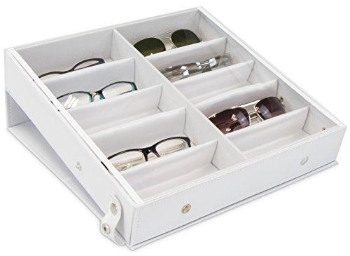 Brillenbox zur Aufbewahrung von 10 Brillen - Weiß ca. 32 x 32 x 6 cm - Sonnenbrillen Präsentation Showcase - Grinscard