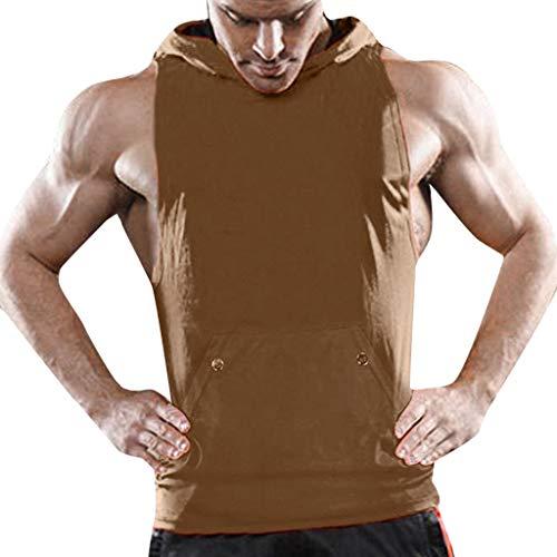 odybuilding Fitness Muskel Tanktop Singlet Ärmellos T-Shirt Sport Weste,Khaki,EU:S(Tag:L) ()