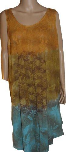 Hot Tropics Batik Kleid Long Beach Cover up - Orange/Cinnamon brown/Turquoise
