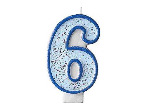 r Glitzer Zahl 6 Blau 7 cm x 4 cm Geburtstagskerze Kindergeburtstag Zahlenkerze Kuchendeko Kuchenkerze Glitzerkerze ()