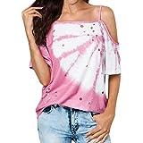 IZZB Damen Bluse Tanktops Weste Damen Oberteil Sommer Shirt Lässig Trägerlos Kalte Schulter Hollow Butterfly Printed Bluse (Rosa, XXXL)