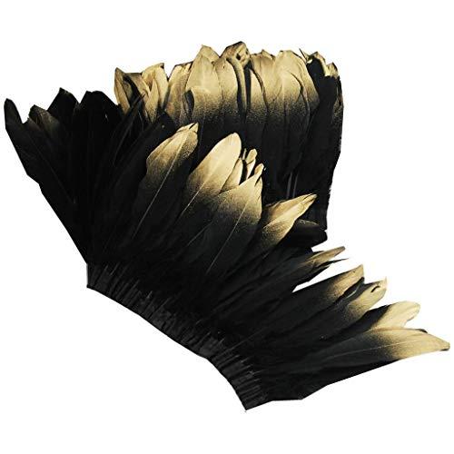 ERGEOB Ente Feder Stoffstreifen 2 Meter - Ideen für die Bekleidung, Kostüme, Hüte. schwarz mit Gold spitz
