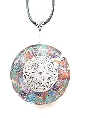 Pendentif Orgone Mandala en argent, pierres et cristaux, Nouvel Age, Reiki