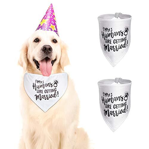 BBTO 2 Stück Meine Menschen Heiraten Hund Bandanas Hochzeit Hund Bandanas Haustier Schal Haustier Hochzeit Ankündigung für Kleine, Mittlere und Große Hunde