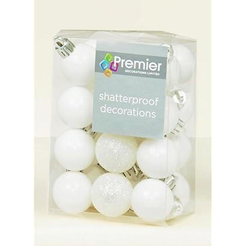 24 x blanco inastillables acabado de bolas para árbol de Navidad decoración