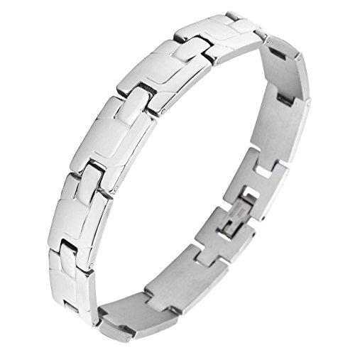 Zysta Schmuck Herren Damen Armband aus Edelstahl Klassich Armbänder Link Handgelenk Armreifen Herrenarmband Damenarmband Unisex Armschmuck Silber 19,8cm