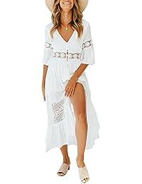 Ufatansy Damen Sommerkleider Spitze Lange Ärmel Schulterfreies Kleid Weißes Strandkleid Swing Boho Kleid