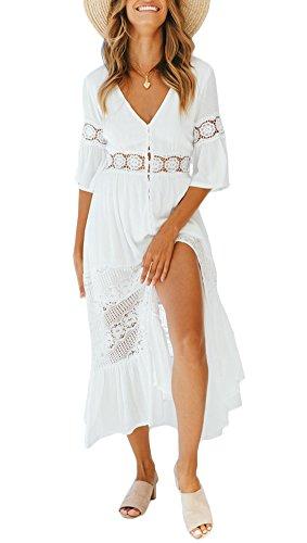 Ufatansy Damen Sommerkleider Spitze Lange Ärmel Schulterfreies Kleid Weißes Strandkleid Swing Boho Kleid (White1, S)