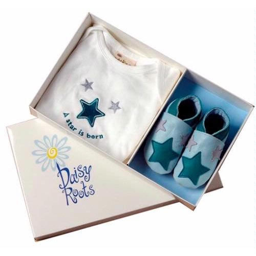 A Star is Born Blue - Newborn Shoes & T-Shirt (0-6 mths)