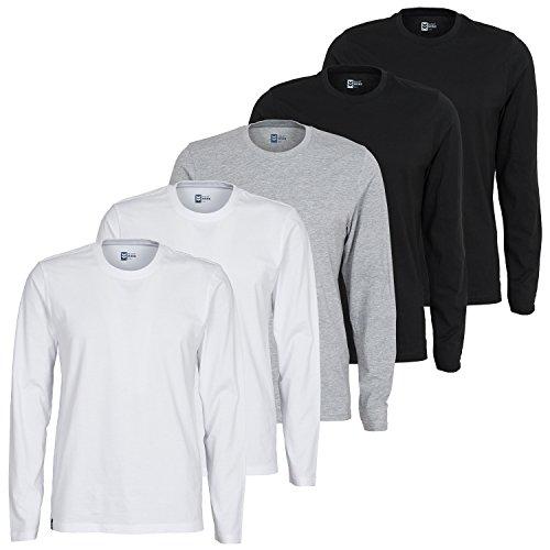 Maat Mons Herren Langarmshirt 5er Pack mit Verschiedenen Farben | Basic Langarm Shirt mit Rundhals Ausschnitt | Einfarbiger Longsleeve in Schwarz, Weiß und Grau | Größe XXL
