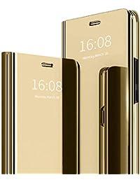 MadBee Funda iPhone SE 2020 (4,7 Pulgadas) [Protector Pantalla], Fundas de Espejo Elegante Brillante Standing Flip Carcasa Cover Carcasa Funda Case para iPhone SE 2020 (4,7 Pulgadas) (Oro)