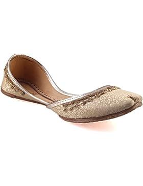 Unze Jet' Leder Schuhe Mädchen Handmade Leather Textured Pailletten Slip On Pump Khussa - CS-535