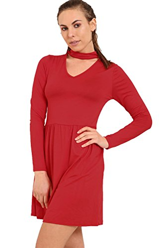 c9e31585b379 Chocolate Pickle® New Ladies Long Sleeve Chocker Neck Flared Swing Dress  Wine 20-22
