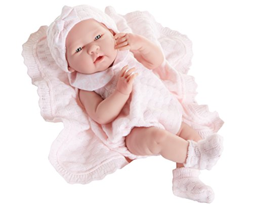 All-Vinyl La Newborn Doll in pink knit outfit with blanket. REAL GIRL!