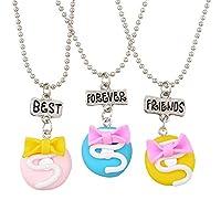 MJARTORIA Best Friends Forever Friendship Pendant Necklaces Set of 3 (Colorful Cream Doughnuts)