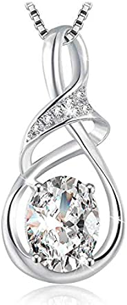 Swarovski Elements 925 Sterling Silver Pendant Necklace for Females Women Ladies Girl friend Gift JRosee Jewel