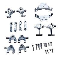 JVSISM Metal Upgraded Parts Steering Cup Swing Arm Shock Absorber Plate Set for Wltoys P929 P939 K969 K979 K989 K999 1/28 RC Car,Silver