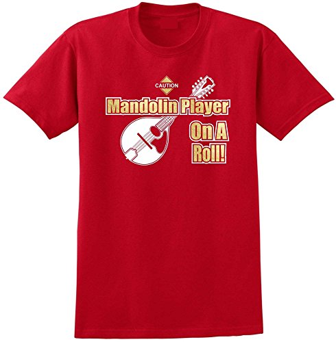 Mandolin Player On A Roll - Red Rot T Shirt Größe 87cm 36in Small MusicaliTee