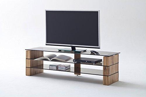 TV-Rack, TV-Board, Fernsehtisch, TV-Schrank, TV-Bank, TV-Unterschrank, Eiche, massiv, Glas, grau/braun, Phonomöbel, TV-Ständer, TV-Stand