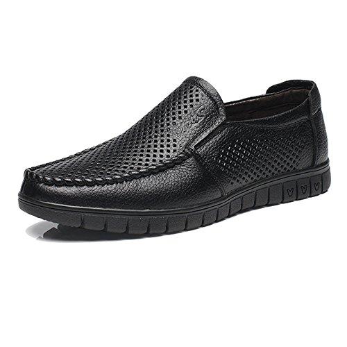 Z.L.F Klassische Herrenmode handgefertigte Oxford-Schuhe aus echtem Leder Slip-on Flache weiche Sohle Loafer (Color : Perforation BK, Größe : 6.5 MUS)