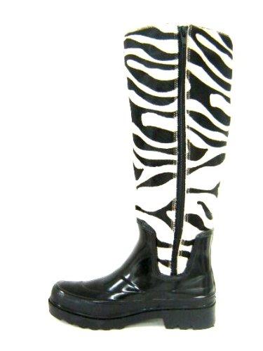 Malu  Malu Vegetal, bottes en caoutchouc femme Noir - Blanc/noir