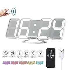 Idea Regalo - Decdeal Orologio da Parete Digitale,Sveglia da Comodino,3D Sveglia LED con Telecomando USB Tempo/Temperatura / Display Dati 115-Colore Modifica Luminosità a 3 Livelli Controllo - Nero