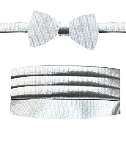 Remo Sartori Herren Smoking-Gürtel und vorgebundene Fliege aus Seide, hergestellt in Italien - Silber - Medium: Einstellbar 74/89 cm Paisley Cummerbund