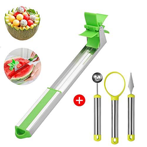 Hmount 4 pezzi anguria windmill kit di taglio, affettatrice di frutta in acciaio inossidabile, pelapatate, pinze, affettatrice per melone, strumenti di sicurezza da cucina approvati dalla fda