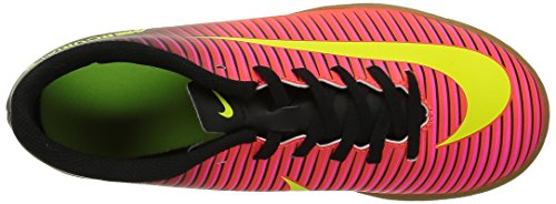 Nike Junior Mercurial Vortex Iii Ic, Chaussures de Football Amricain Mixte Enfant Rouge (Total Crimson/Volt Black Pink Blast)