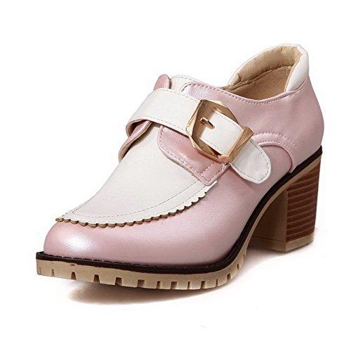 AllhqFashion Damen Rund Zehe Mittler Absatz Weiches Material Schnalle Pumps Schuhe Pink