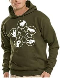 Stein Schere Papier Echse Spock Kapuzen Sweatshirt - Pullover S-XXXL div. Farben