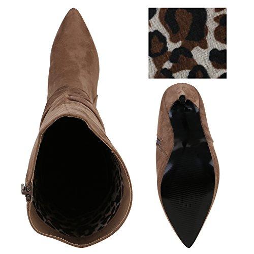 Damen Stiefel High Heels Velours Slouch Boots Stilettos Khaki