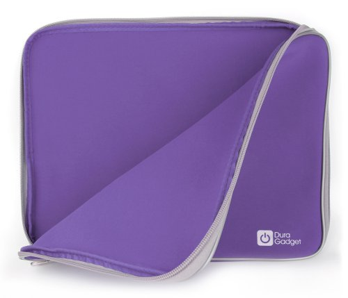 Water Resistant Neoprene Purple Laptop Case for the MSI PL62 7RC | GS63 7RD Stealth | GL62M 7RDX-2073UK | GL62M 7REX-1293UK | GP62MVR 7RFX-880 Leopard Pro - by DURAGADGET