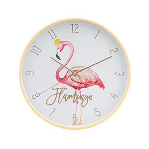 LUUK LIFESTYLE hochwertige, Moderne, Schlichte Minimal Quarz Wanduhr Flamingo mit Sekundenzeiger, Küchenuhr, Vintage Wohnzimmer Uhr, Gold