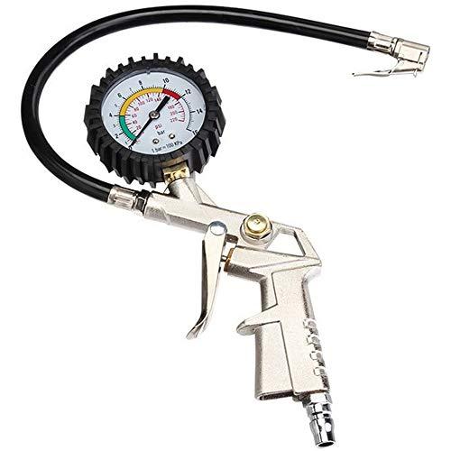 Xinlie Pistola Gonfiaggio Pneumatici Manometro Pressione Gomme Professionale Manometro per Pneumatici capacità Massima di Controllo 16 Bar, per Pneumatici di Auto, Moto e Biciclette