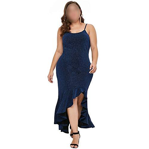 Bademode Unregelmäßiges Kleid Women'a Spaghetti Strap Langes Maxi Plus Kleid Bikinis (Farbe : Blau, Size : 1X)