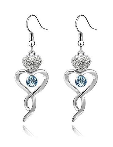 FANSING Bijoux Cadeau Cœur Cristal Pendentif Boucles D'Oreilles Pour Femme Isenretail Torsion Longue Glands Fête Danse Présent 5.2*1.7cm