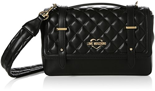 Love Moschino Borsa Quilted Nappa Pu Nero Gal.oro, Bolsos baguette Mujer, Varios colores (Black-gold), 10x17x28 cm (B x H T)