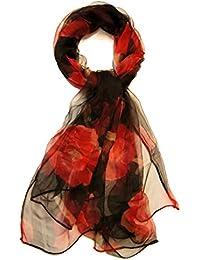 Etole foulard 100% mousseline de soie noir imprimé coquelicots rouges 150 x 80 cm -
