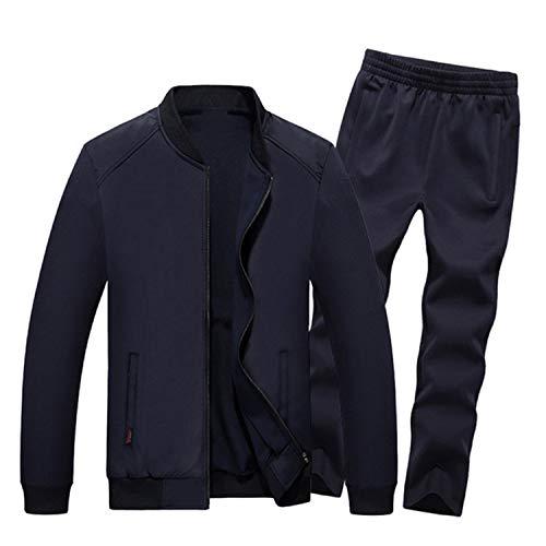 Sweatsuit Jacke Hose (Meaningg 2019 Herbst Winter Männer Sporting Anzug Jacke + Hose Sweatsuit 2 Stück Set Sportbekleidung Herrenbekleidung Trainingsanzug Set)