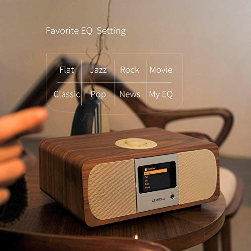 LEMEGA M3  Smart Hi-Fi Music System  2 1 Stereo  And Wireless Speaker With Wi-Fi  Internet Radio  Spotify  Bluetooth  DLNA  DAB  DAB   FM radio  Clock  Alarms  Presets  And Wireless App Control - Walnut